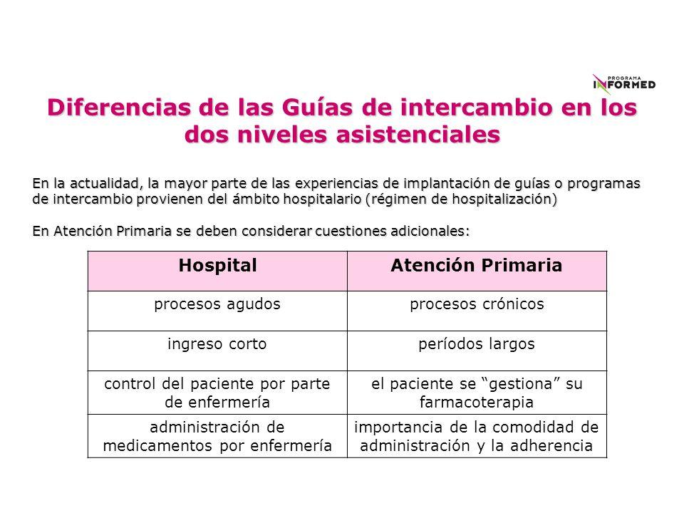 Diferencias de las Guías de intercambio en los dos niveles asistenciales