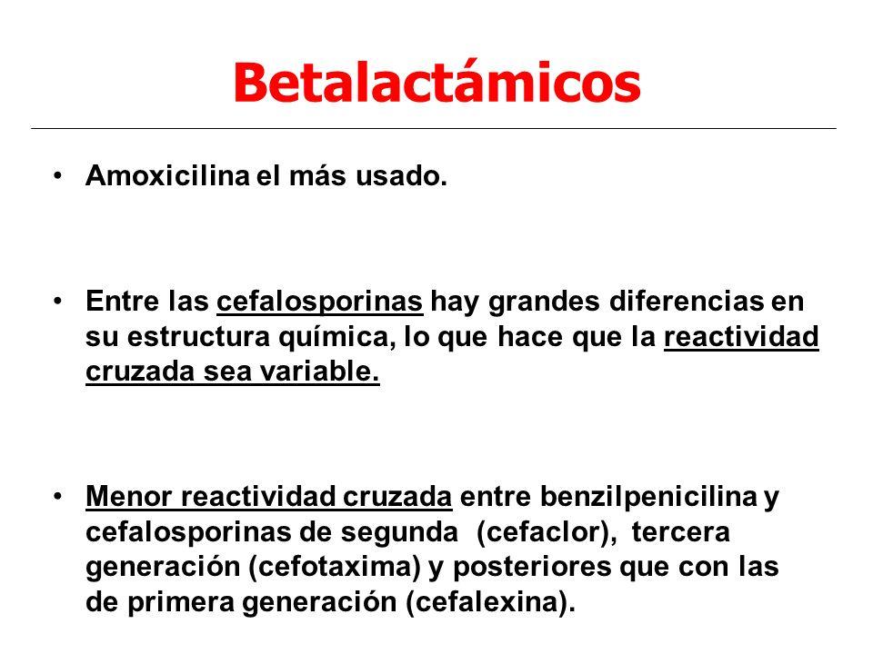 Betalactámicos Amoxicilina el más usado.