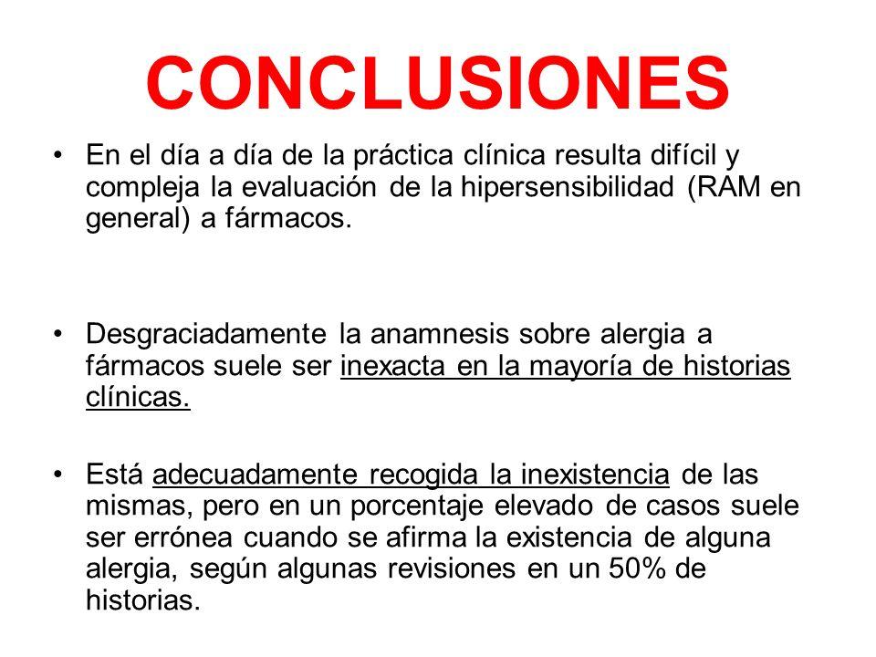 CONCLUSIONESEn el día a día de la práctica clínica resulta difícil y compleja la evaluación de la hipersensibilidad (RAM en general) a fármacos.