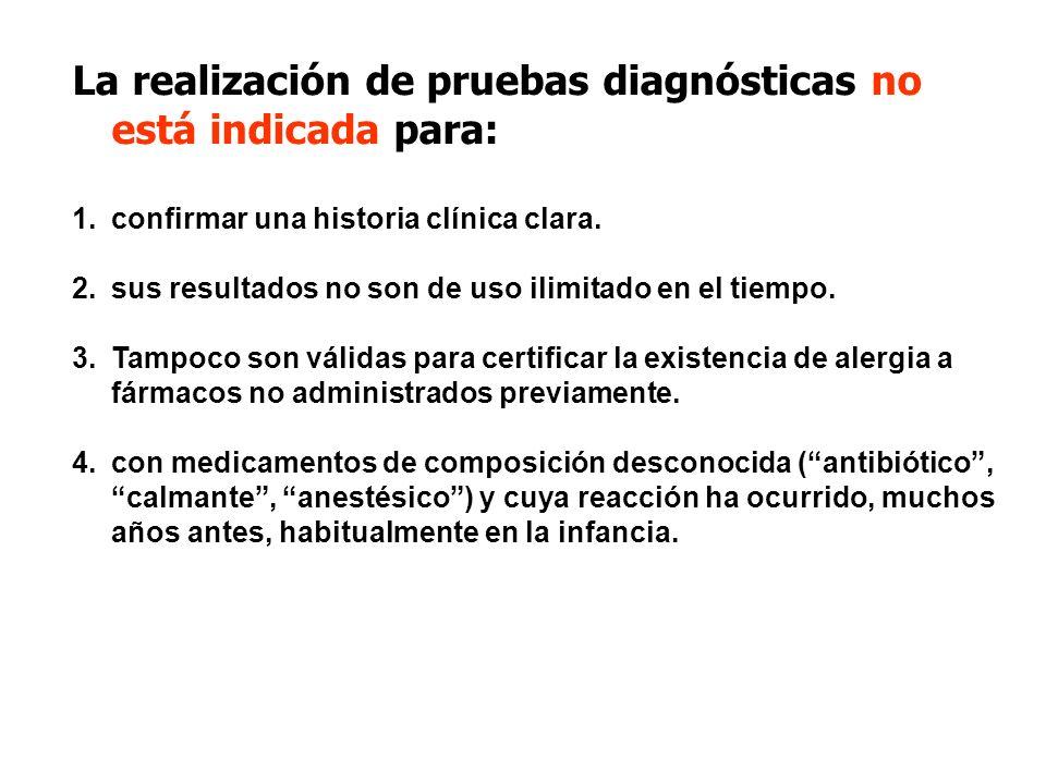 La realización de pruebas diagnósticas no está indicada para: