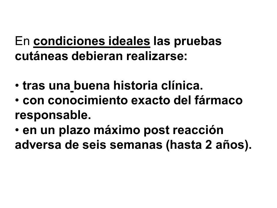 En condiciones ideales las pruebas cutáneas debieran realizarse: