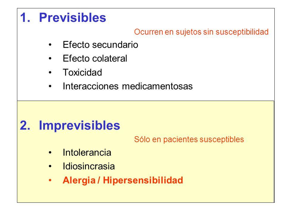Previsibles Imprevisibles Efecto secundario Efecto colateral Toxicidad