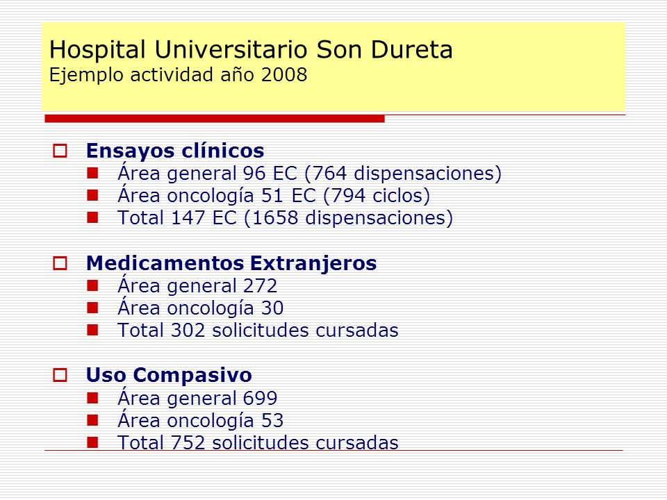 Hospital Universitario Son Dureta Ejemplo actividad año 2008