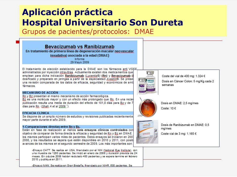 Aplicación práctica Hospital Universitario Son Dureta Grupos de pacientes/protocolos: DMAE