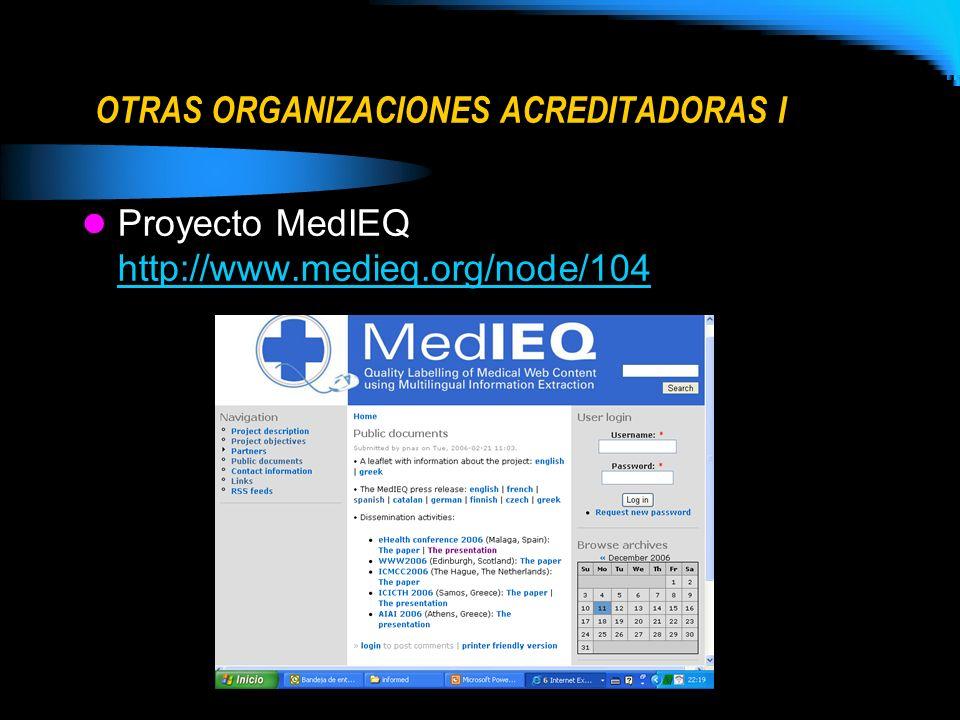 OTRAS ORGANIZACIONES ACREDITADORAS I