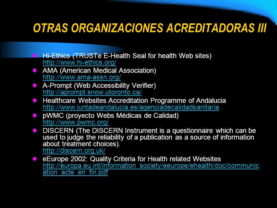OTRAS ORGANIZACIONES ACREDITADORAS III