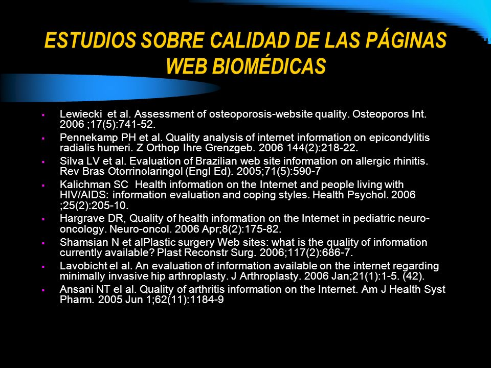 ESTUDIOS SOBRE CALIDAD DE LAS PÁGINAS WEB BIOMÉDICAS