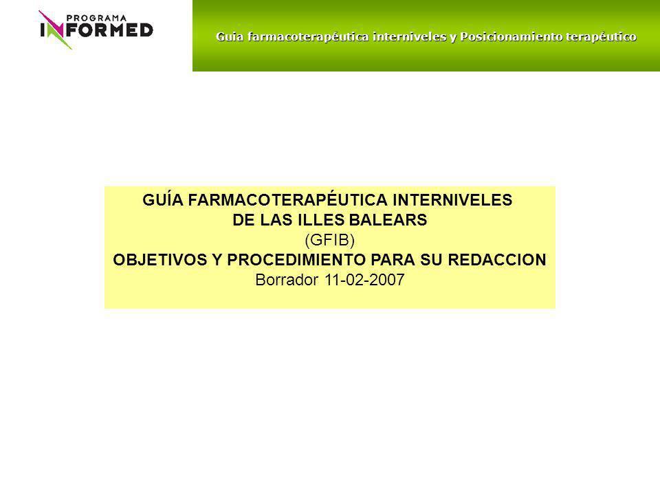 GUÍA FARMACOTERAPÉUTICA INTERNIVELES DE LAS ILLES BALEARS