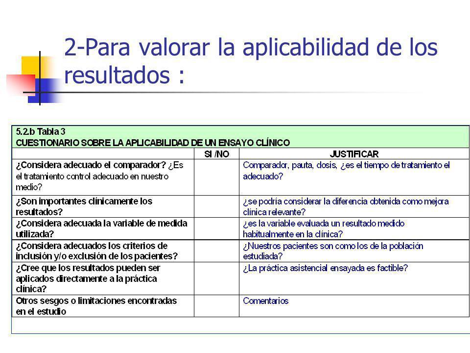 2-Para valorar la aplicabilidad de los resultados :