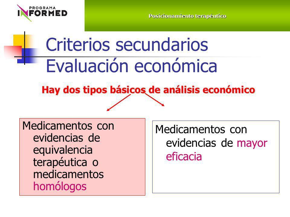 Criterios secundarios Evaluación económica