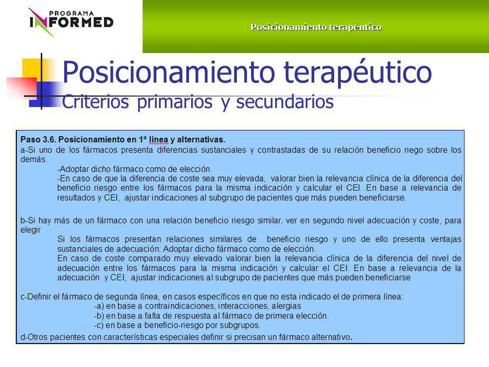 Posicionamiento terapéutico Criterios primarios y secundarios