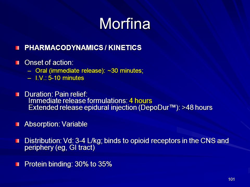 Morfina PHARMACODYNAMICS / KINETICS Onset of action: