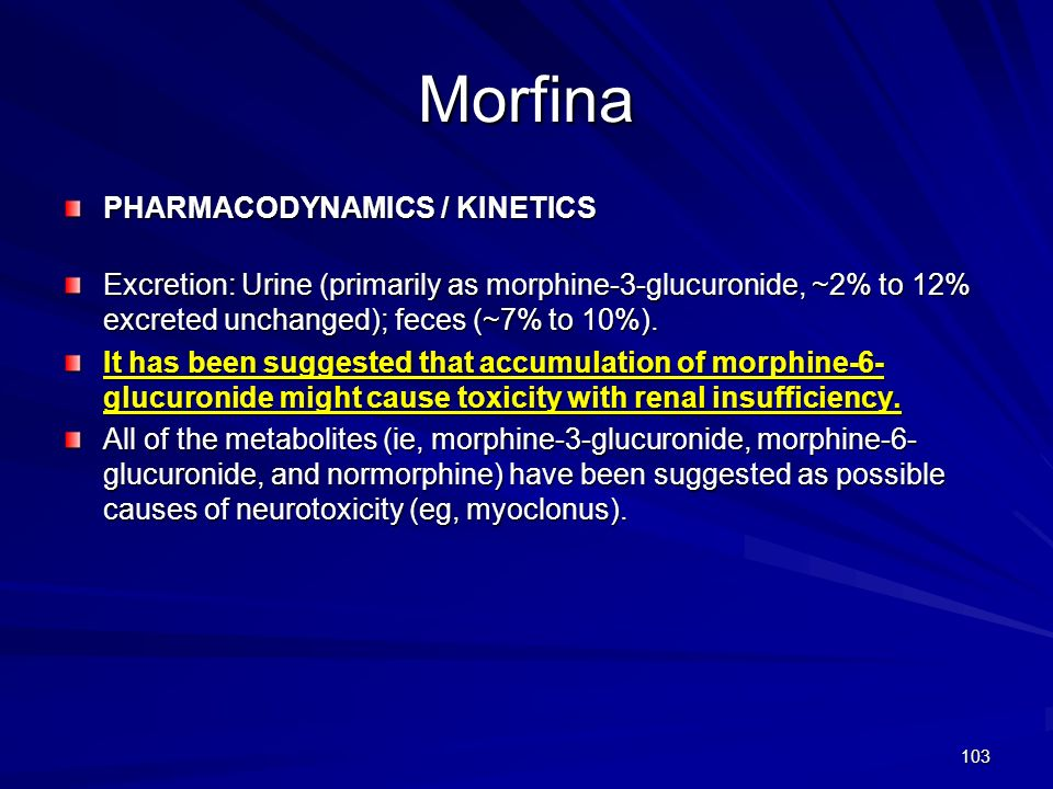 Morfina PHARMACODYNAMICS / KINETICS