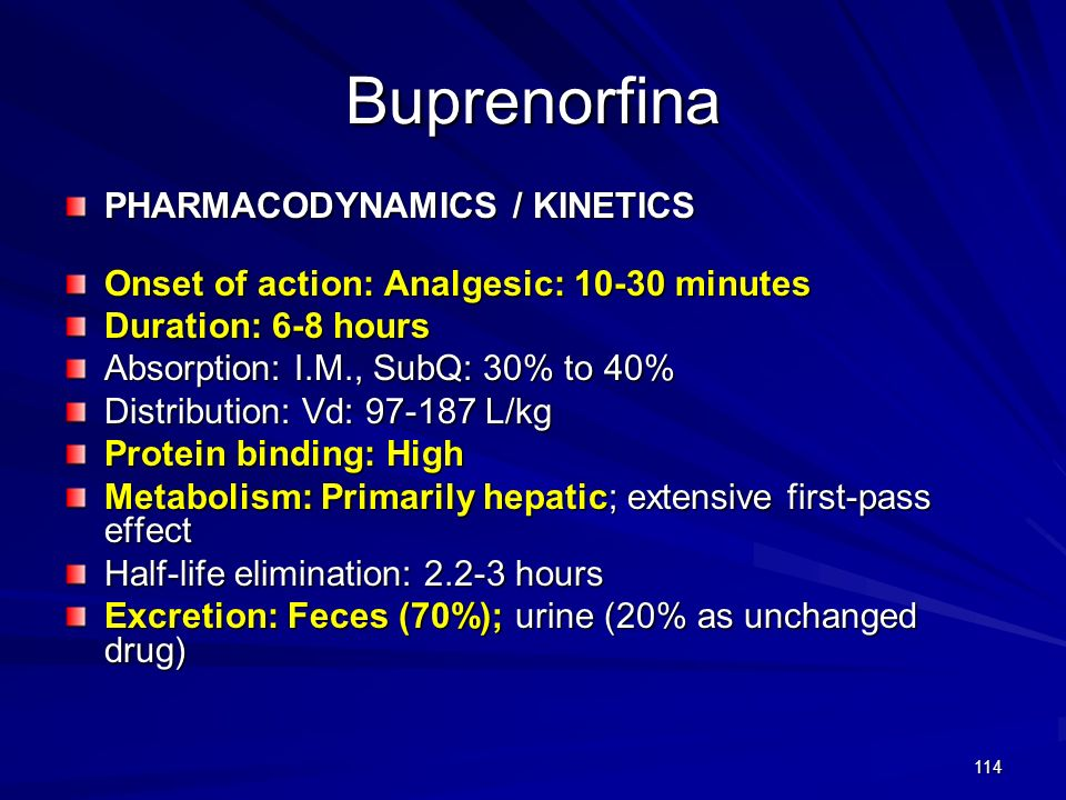 Buprenorfina PHARMACODYNAMICS / KINETICS