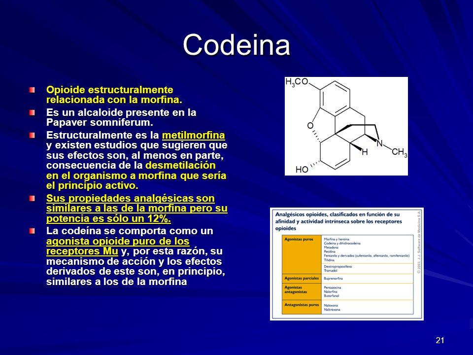 Codeina Opioide estructuralmente relacionada con la morfina.
