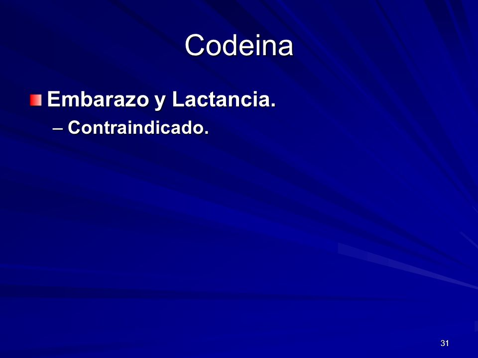 Codeina Embarazo y Lactancia. Contraindicado.