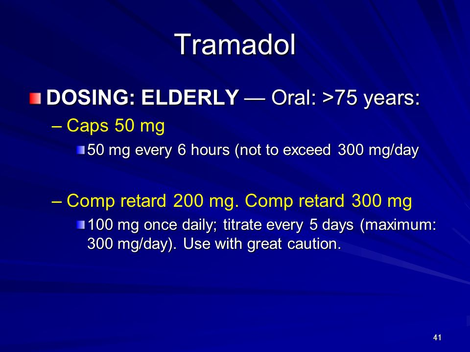 Tramadol DOSING: ELDERLY — Oral: >75 years: Caps 50 mg