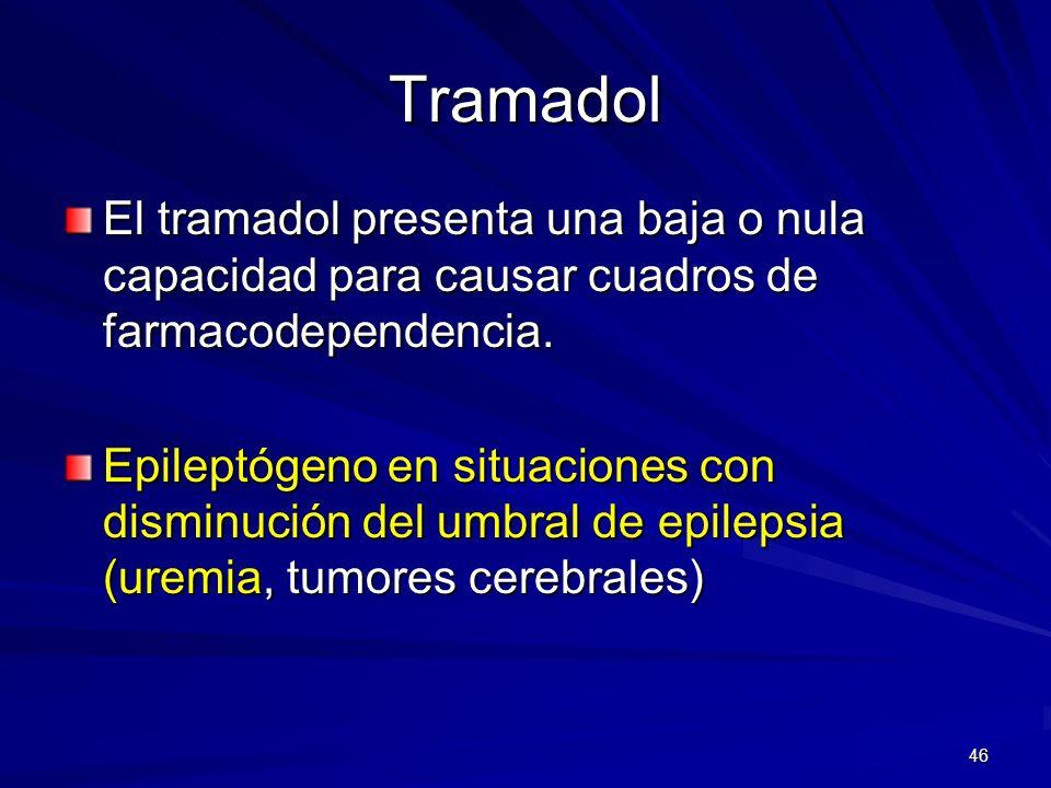 TramadolEl tramadol presenta una baja o nula capacidad para causar cuadros de farmacodependencia.