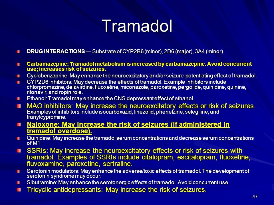 Tramadol DRUG INTERACTIONS — Substrate of CYP2B6 (minor), 2D6 (major), 3A4 (minor)