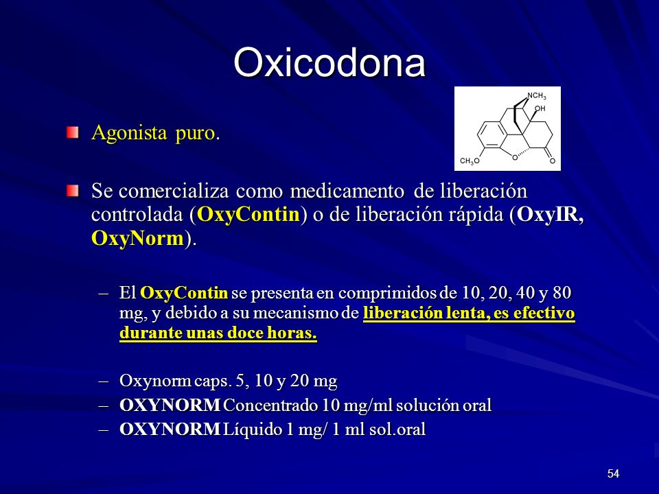 Oxicodona Agonista puro.