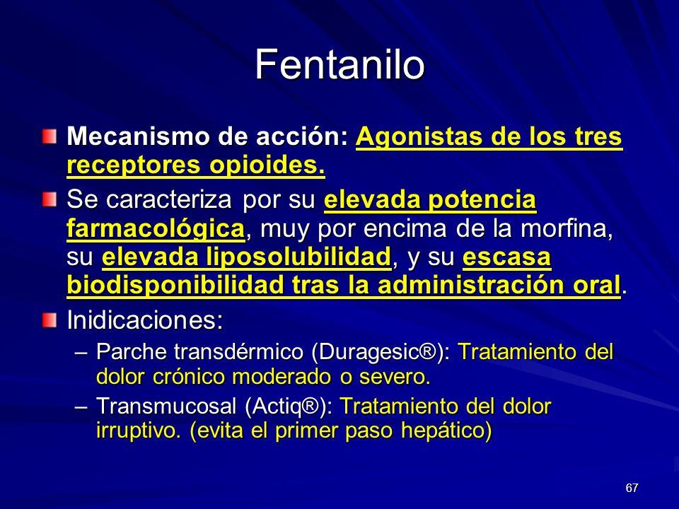 FentaniloMecanismo de acción: Agonistas de los tres receptores opioides.