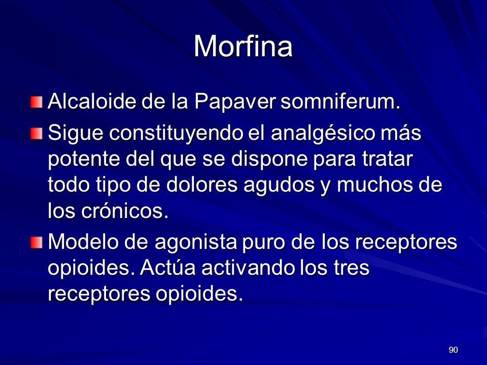 Morfina Alcaloide de la Papaver somniferum.