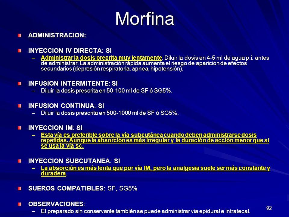 Morfina ADMINISTRACION: INYECCION IV DIRECTA: SI