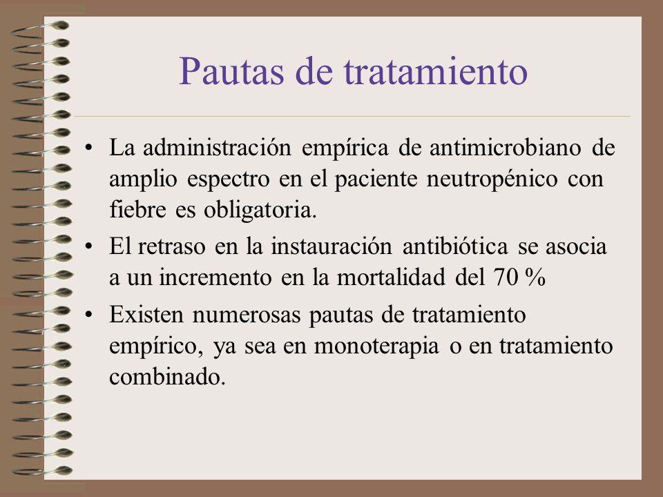 Pautas de tratamiento La administración empírica de antimicrobiano de amplio espectro en el paciente neutropénico con fiebre es obligatoria.