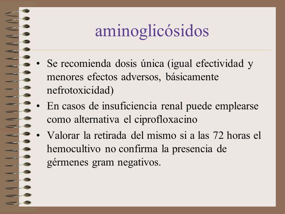 aminoglicósidosSe recomienda dosis única (igual efectividad y menores efectos adversos, básicamente nefrotoxicidad)
