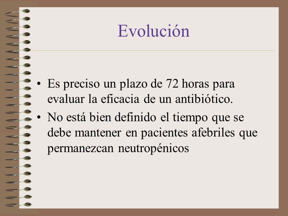 EvoluciónEs preciso un plazo de 72 horas para evaluar la eficacia de un antibiótico.