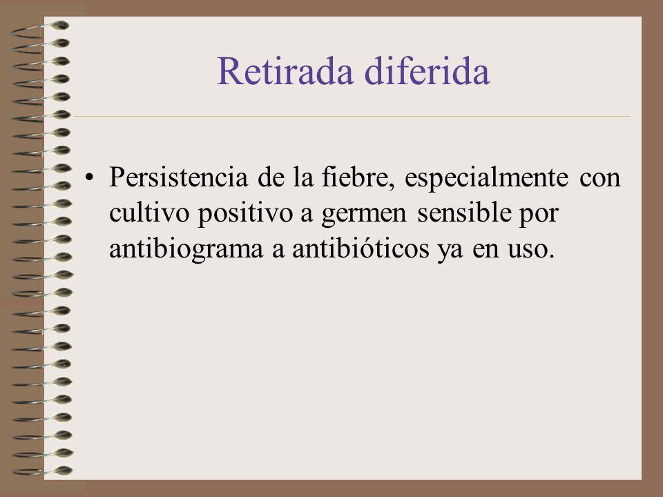 Retirada diferidaPersistencia de la fiebre, especialmente con cultivo positivo a germen sensible por antibiograma a antibióticos ya en uso.