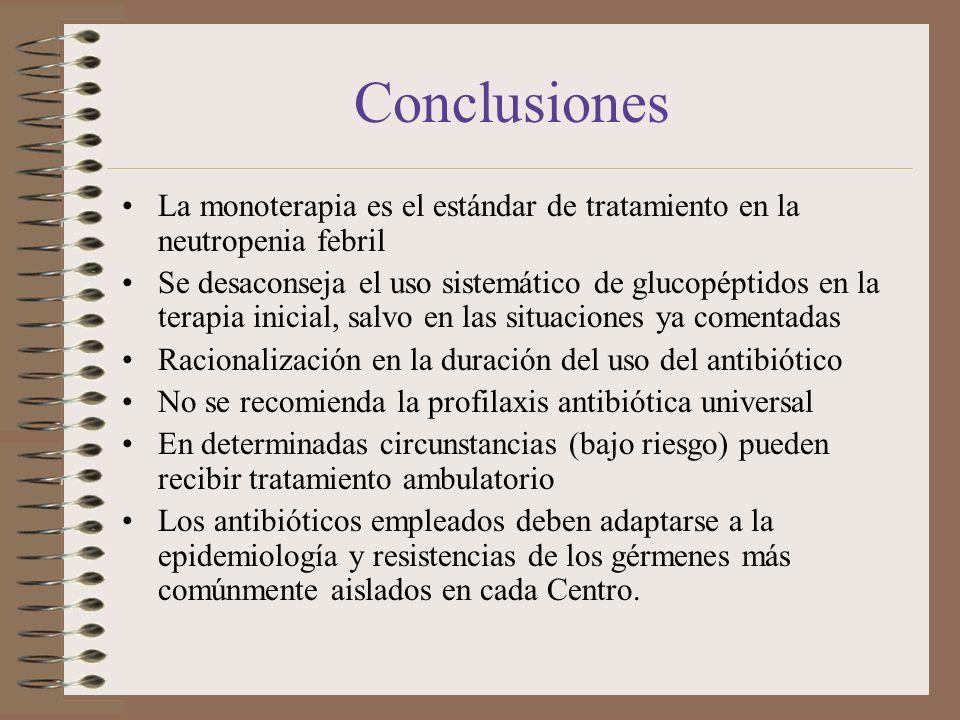 Conclusiones La monoterapia es el estándar de tratamiento en la neutropenia febril.
