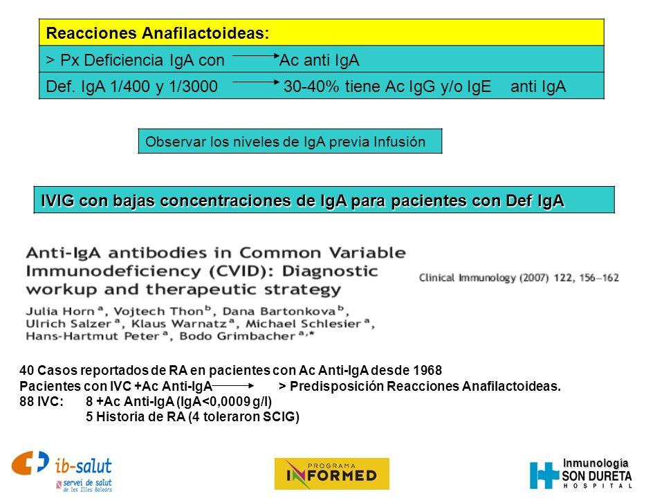 Reacciones Anafilactoideas: > Px Deficiencia IgA con Ac anti IgA