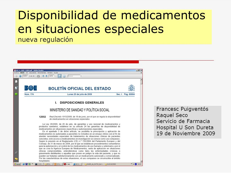 Disponibilidad de medicamentos en situaciones especiales nueva regulación