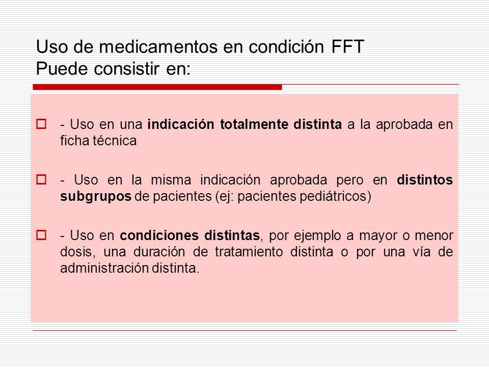 Uso de medicamentos en condición FFT Puede consistir en: