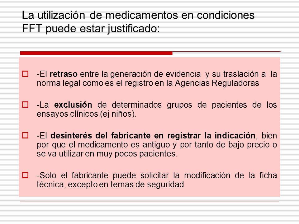 La utilización de medicamentos en condiciones FFT puede estar justificado: