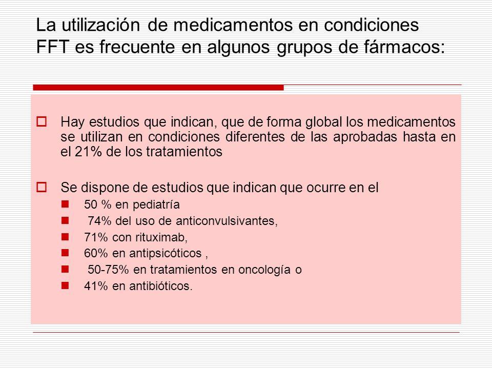 La utilización de medicamentos en condiciones FFT es frecuente en algunos grupos de fármacos: