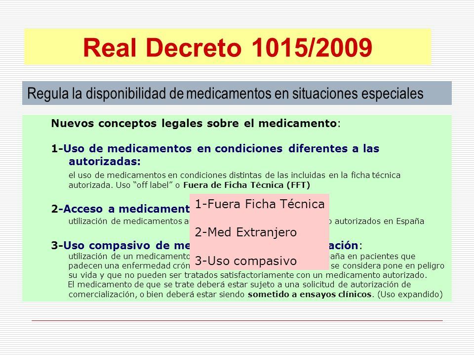 Real Decreto 1015/2009 Regula la disponibilidad de medicamentos en situaciones especiales. Nuevos conceptos legales sobre el medicamento: