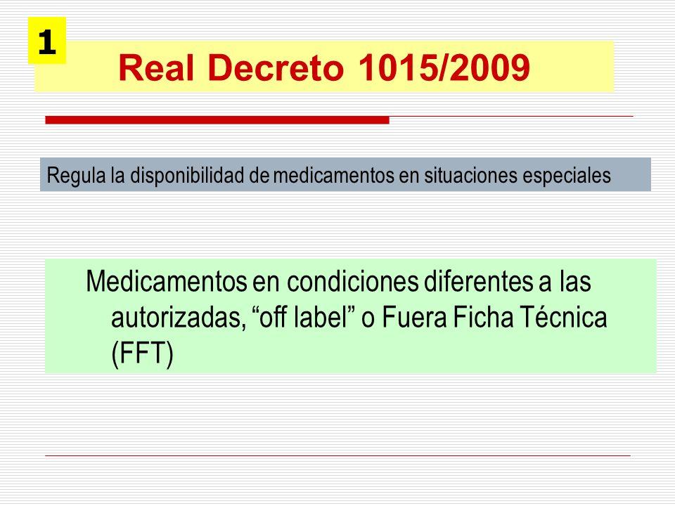 1Real Decreto 1015/2009. Regula la disponibilidad de medicamentos en situaciones especiales.