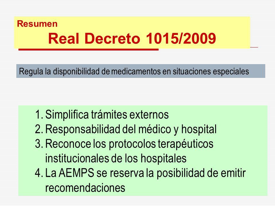 Real Decreto 1015/2009 Simplifica trámites externos