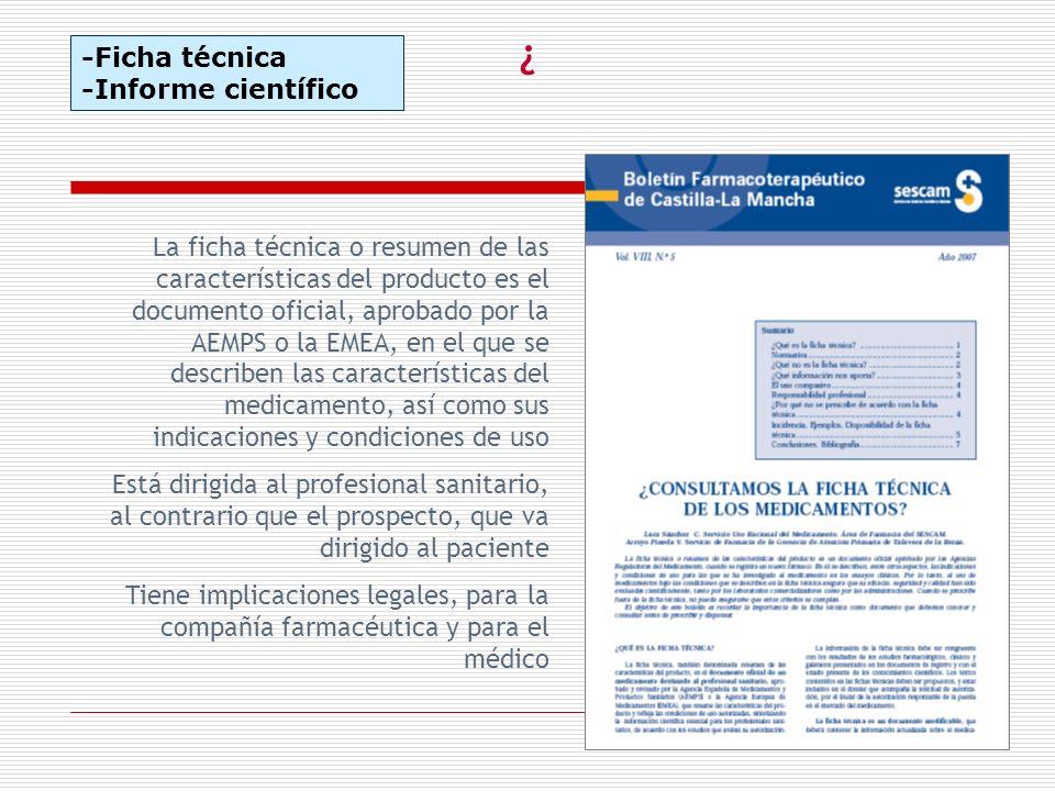 ¿ -Ficha técnica -Informe científico