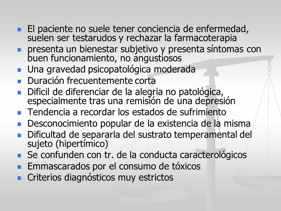 El paciente no suele tener conciencia de enfermedad, suelen ser testarudos y rechazar la farmacoterapia