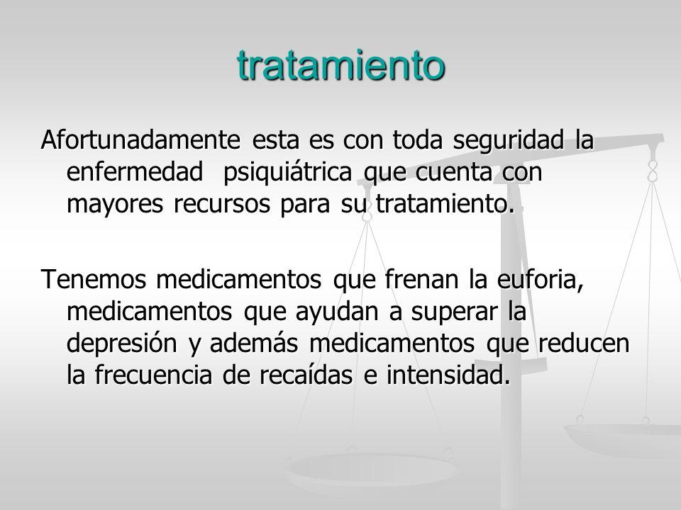 tratamiento Afortunadamente esta es con toda seguridad la enfermedad psiquiátrica que cuenta con mayores recursos para su tratamiento.
