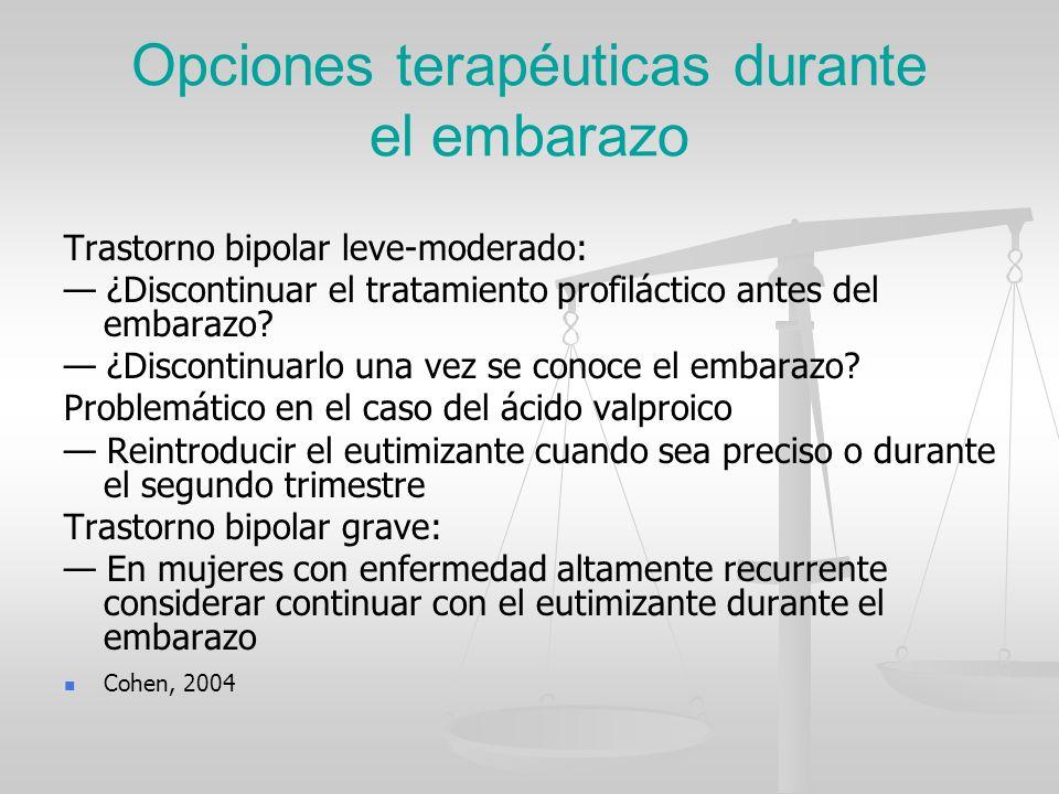 Opciones terapéuticas durante el embarazo