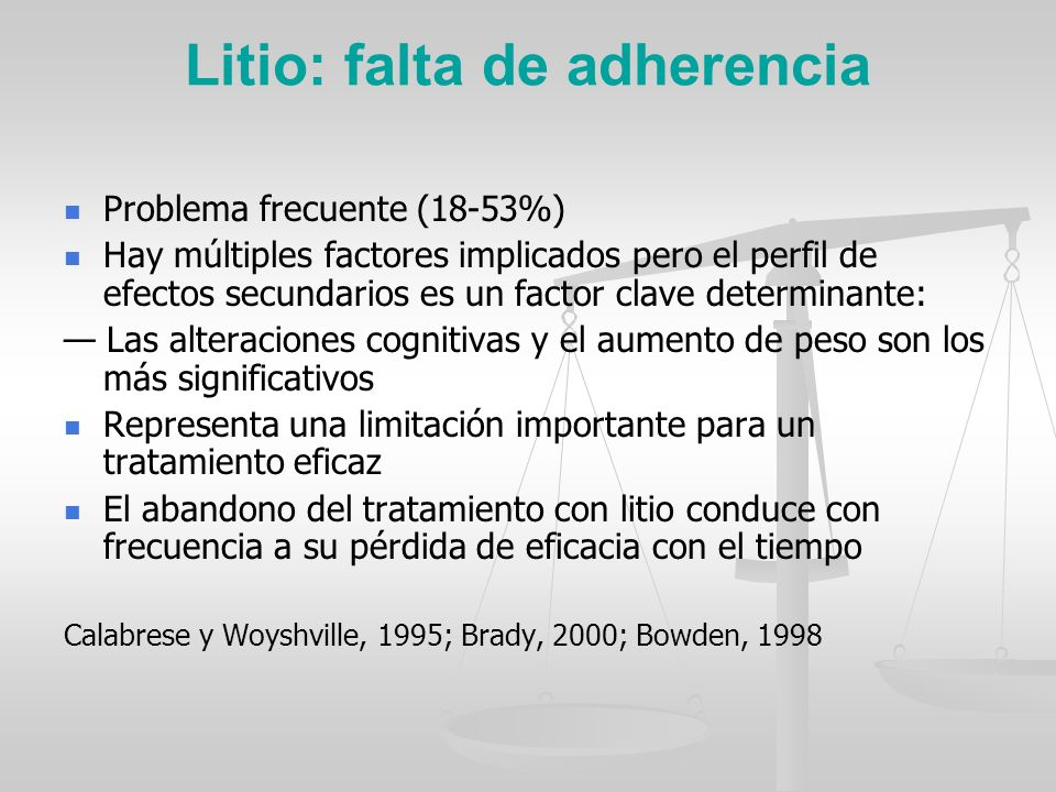 Litio: falta de adherencia