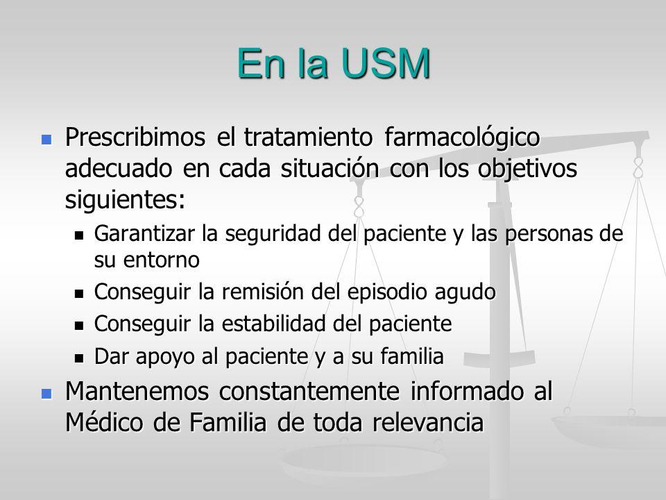 En la USM Prescribimos el tratamiento farmacológico adecuado en cada situación con los objetivos siguientes: