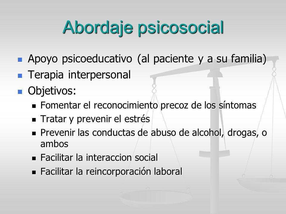 Abordaje psicosocial Apoyo psicoeducativo (al paciente y a su familia)