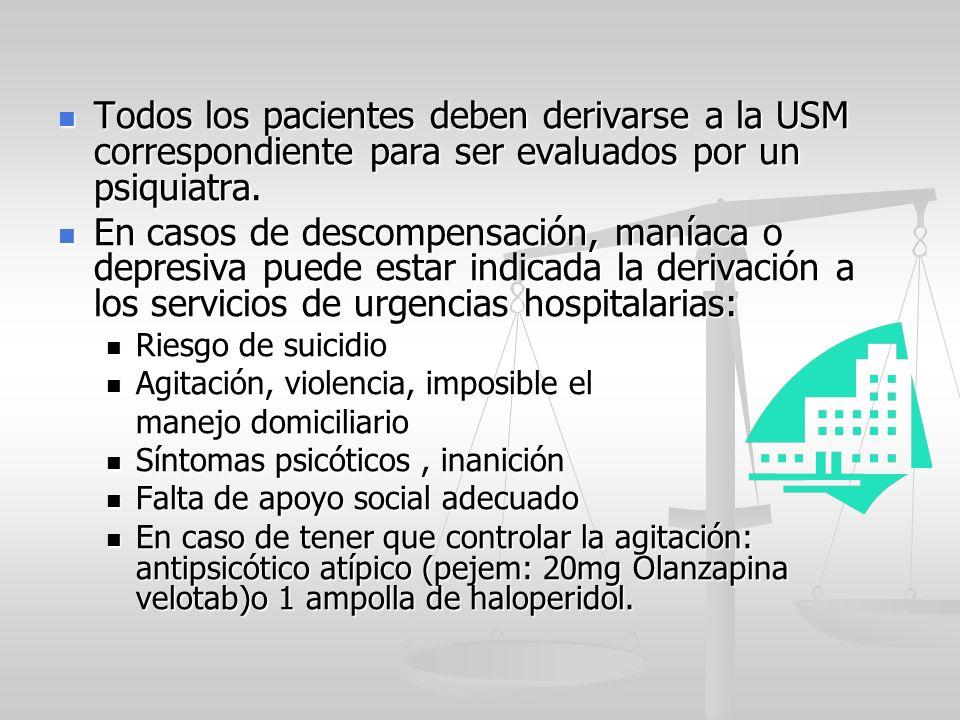 Todos los pacientes deben derivarse a la USM correspondiente para ser evaluados por un psiquiatra.