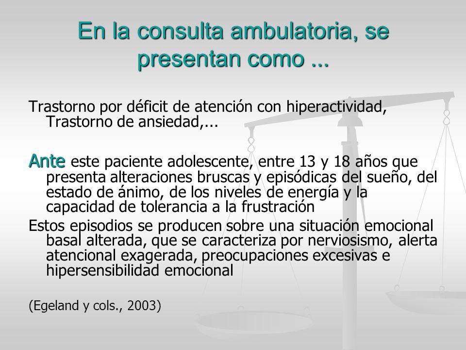 En la consulta ambulatoria, se presentan como ...