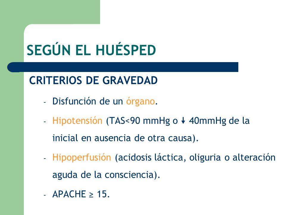 SEGÚN EL HUÉSPED CRITERIOS DE GRAVEDAD Disfunción de un órgano.
